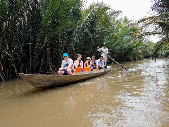 People on Rowing Boat Mekong Delta