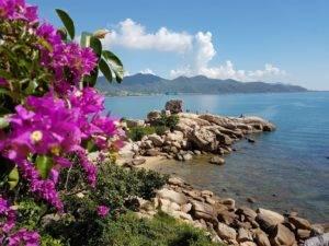 Nha Trang beach with rocks